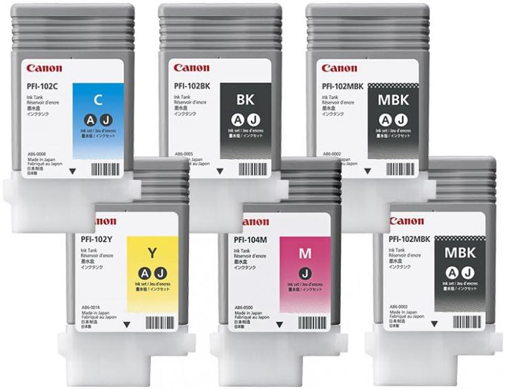Комплект из 6 картриджей Canon PFI-102/104, 6шт x 130мл
