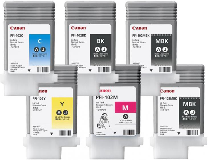 Комплект из 6 картриджей Canon PFI-102, 6шт x 130мл