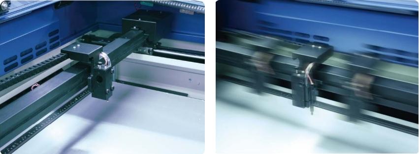 GCC LaserPro Spirit GE 100. Перемещение при работе