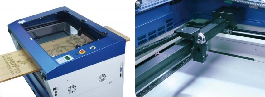 GCC LaserPro Spirit GE 40. Передняя и задняя панель