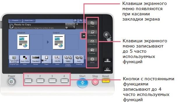 Konica Minolta bizhub 287. 7-дюймовая панель управления