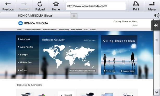 Konica Minolta bizhub 367. Стандартный веб-браузер