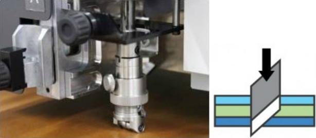 Mimaki CFL-605RT. Тангенциальный нож для резки сложных материалов