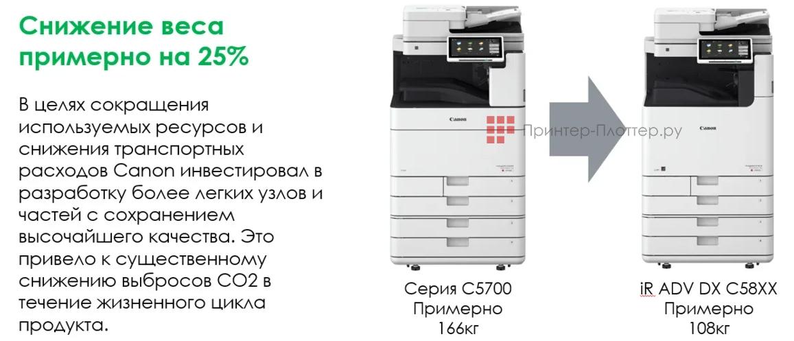 Canon imageRUNNER ADVANCE DX C5800. Снижение веса