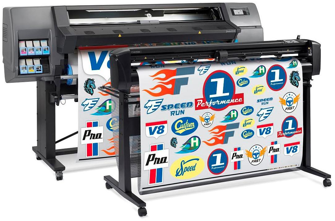 Комплект латексного принтера HP с режущим плоттером