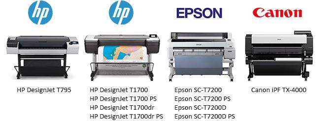 Сравнение плоттеров HP T795, T1700, Epson SC-T7200 и Canon TX-4000