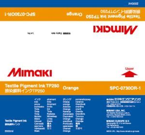 Чернила Mimaki TP250 Textile Pigment Ink (orange), 2 л SPC-0730OR-1 Архив моделей Mimaki